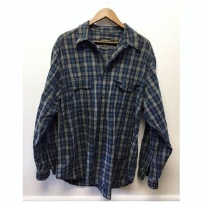 Eddie Bauer | Blue & Tan Soft Button Down Flannel